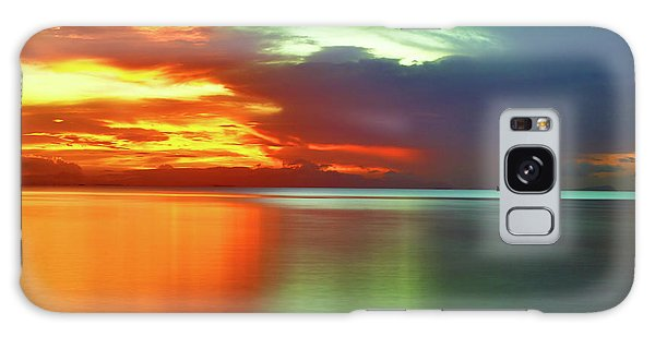Sunset And Boat Galaxy Case