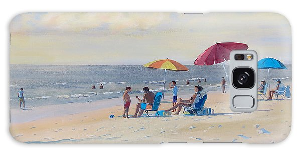 Galaxy Case featuring the painting Sunset Beach Observers by David Gilmore