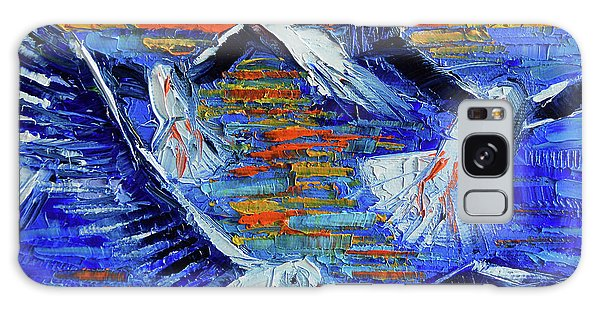 Islands In The Sky Galaxy Case - Sunset Fly Palette Knife Impasto Abstract Oil Painting Mona Edulesco by Mona Edulesco