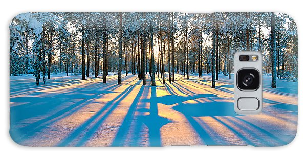 Pine Branch Galaxy Case - Sunset In A Winter Forest by Leonid Ikan