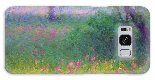 Sunset In Flower Meadow Galaxy Case