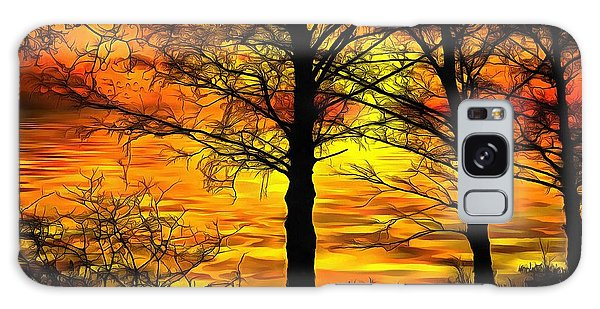 Galaxy Case featuring the painting Sunset Lake by Harry Warrick