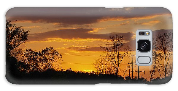 Sunset With Electricity Pylon Galaxy Case
