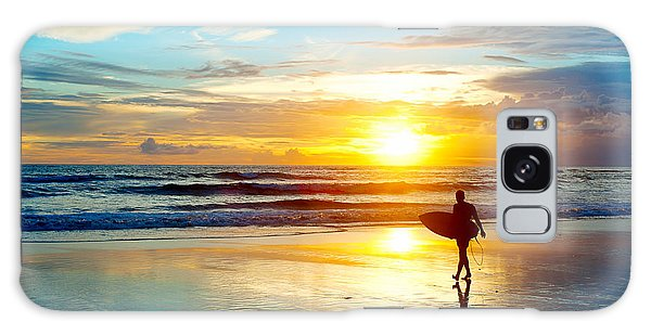 Seashore Galaxy Case - Surfer On The Ocean Beach At Sunset On by Joyfull