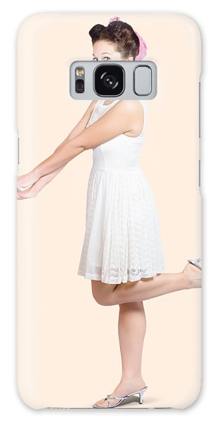 Vivacious Galaxy Case - Surprised Housewife Kicking Up Leg In White Dress by Jorgo Photography - Wall Art Gallery
