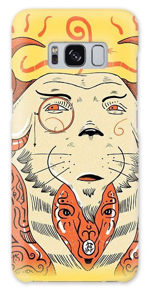 Galaxy Case featuring the drawing Surreal Cat by Sotuland Art