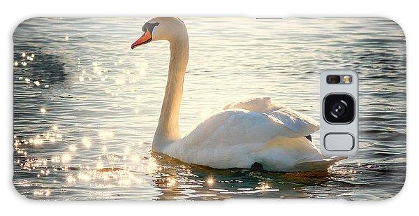 Swan On Golden Waters Galaxy Case