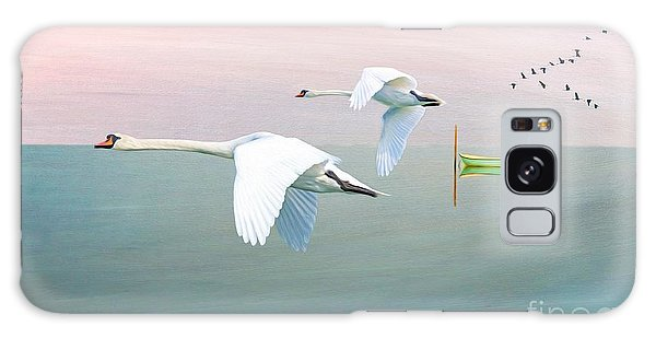 Swan Boats Galaxy Case - Swans At Sunrise by Laura D Young