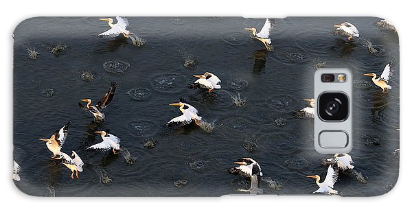 Plane Galaxy Case - Synchronous Flight Of White Pelicans by Victor Tyakht