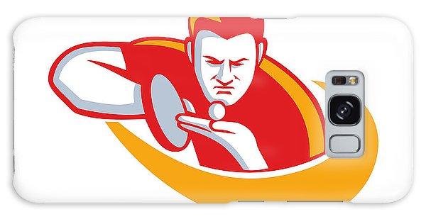 Sportsman Galaxy Case - Table Tennis Player Serving Mascot by Aloysius Patrimonio