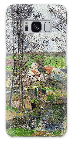 Country Living Galaxy Case - The Banks Of The Viosne At Osny In Grey Weather, Winter - Digital Remastered Edition by Camille Pissarro