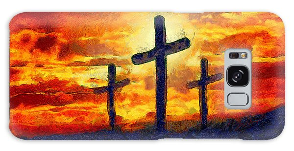 Galaxy Case featuring the painting The Cross by Harry Warrick