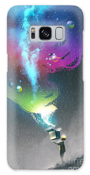 Milky Way Galaxy Case - The Kid Opening A Fantasy Box With by Tithi Luadthong