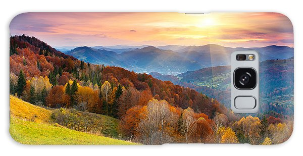 Dawn Galaxy Case - The Mountain Autumn Landscape With by Creative Travel Projects