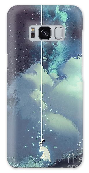 Milky Way Galaxy Case - The Woman On A Swing Under The Night by Tithi Luadthong