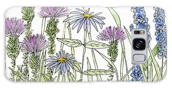 Thistle Asters Blue Flower Watercolor Wildflower Galaxy Case
