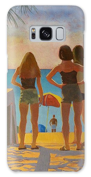 Galaxy Case featuring the painting Three Beach Girls by David Gilmore