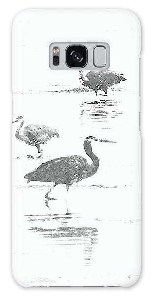 Three Blue Herons Galaxy Case