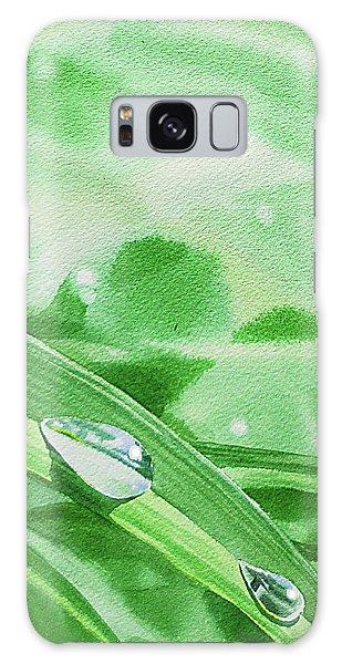 Hyper-realistic Galaxy Case - Three Dew Drops Realism In Watercolor by Irina Sztukowski