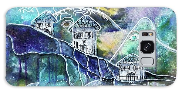 Three Houses On A Cliff Galaxy Case