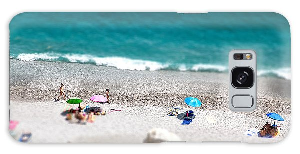 Seashore Galaxy Case - Tilt Shift Of Ocean Beach View With by Gaudilab