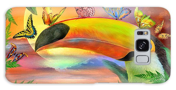 Galaxy Case featuring the mixed media Toucan And Butterflies by Carol Cavalaris