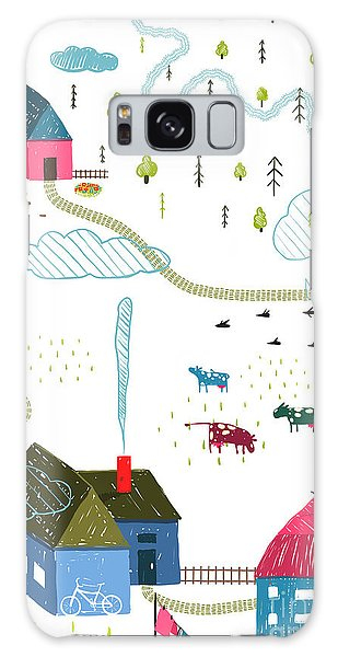Pasture Galaxy Case - Town Or Village Rural Landscape With by Popmarleo
