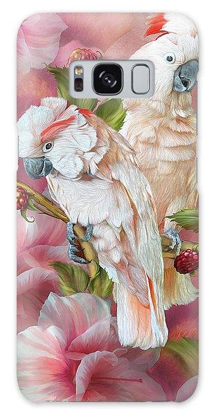 Galaxy Case featuring the mixed media Tropic Spirits - Cockatoos by Carol Cavalaris