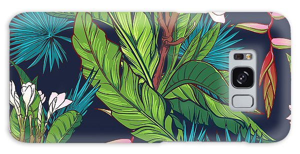 Botanical Garden Galaxy Case - Tropical Jungle Seamless Pattern On by Antonpix