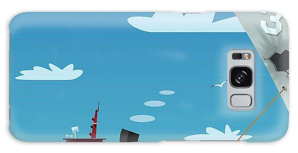 Seagulls Galaxy Case - Tugboat Pulling Damaged Navy Ship by Nikola Knezevic