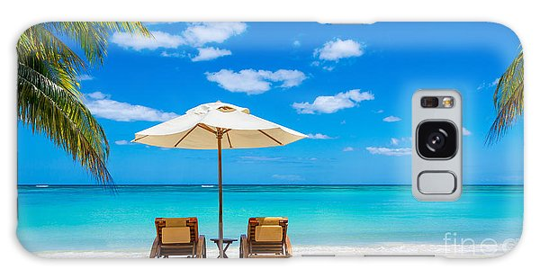 Parasol Galaxy Case - Turquoise Sea, Deckchairs, White Sand by Bmproductions