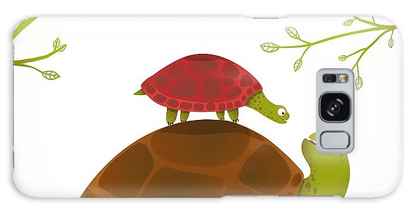 Turtle Galaxy Case - Turtle Mother And Baby Childish Animal by Popmarleo