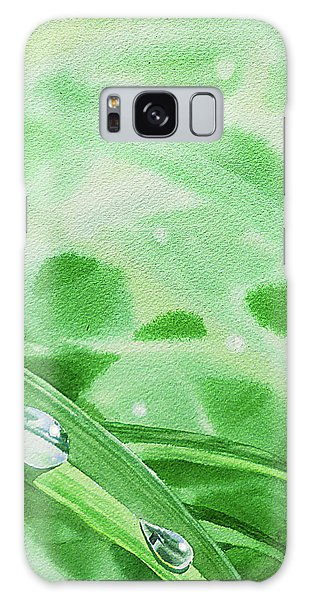 Hyper-realistic Galaxy Case - Two Dew Drops Green Watercolor by Irina Sztukowski