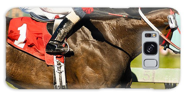 Horizontal Galaxy Case - Two Horses And Jockeys Come Aross by Christopher Boswell