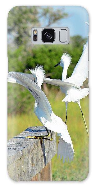 Two Snowy Egrets Lifting Off On Jekyll Island Galaxy Case