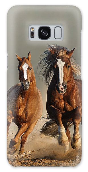 Powerful Galaxy Case - Two Wild Chestnut Horses Running by Mariait