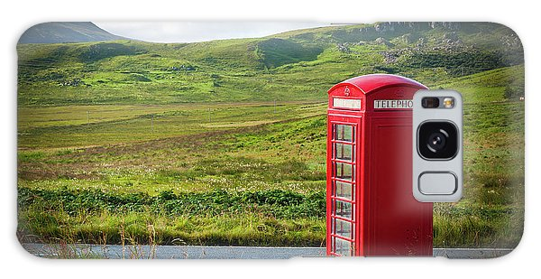 Typical Red English Telephone Box In A Rural Area Near A Road. Galaxy Case