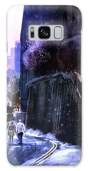 Two People Galaxy Case - Urban Landscape With Couple Walking In by Tithi Luadthong