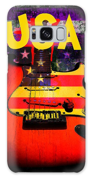 Galaxy Case featuring the digital art Usa Flag Guitar Purple Stars And Bars by Guitar Wacky