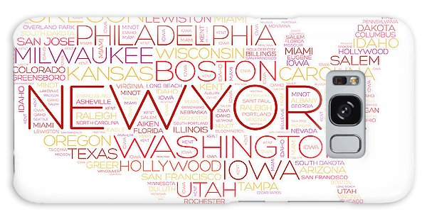 Oklahoma Galaxy Case - Usa Map Word Cloud With Most Important by Dizain