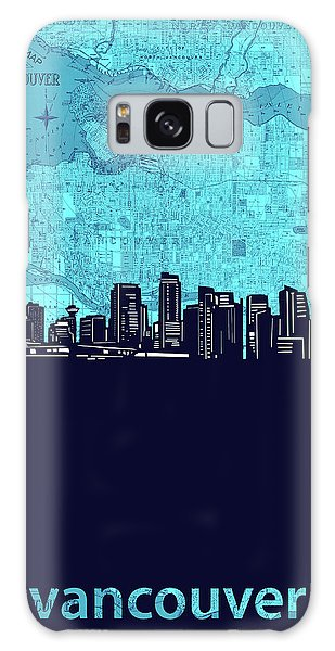 Vancouver City Galaxy Case - Vancouver Skyline Map Turquoise by Bekim M