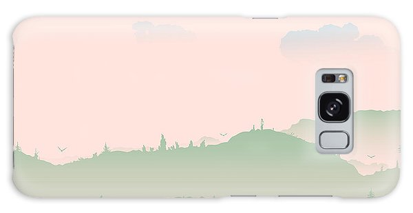 Horizontal Galaxy Case - Vector Evening Coniferous Forest Hills by Dariatri3