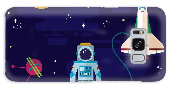 Spaceship Galaxy Case - Vector Flat Space Elements With by Inshpulya