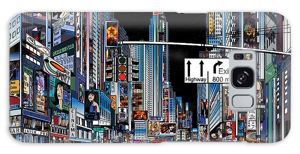 New York City Taxi Galaxy Case - Vector Illustration Of A Street In New by Isaxar