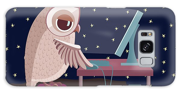 Active Galaxy Case - Vector Illustration. Owl Working On The by Satika