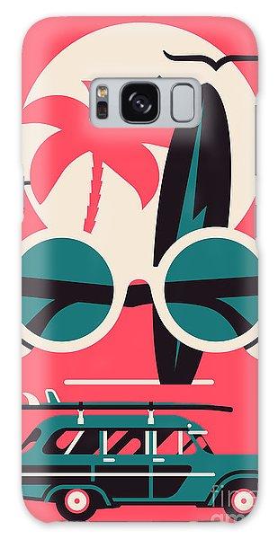 Seagulls Galaxy Case - Vector Modern Flat Wall Art Poster by Mascha Tace