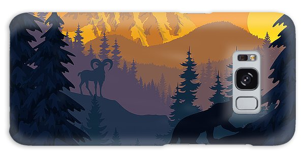 Majestic Galaxy Case - Vector Mountains Evening Landscape With by Savejungle