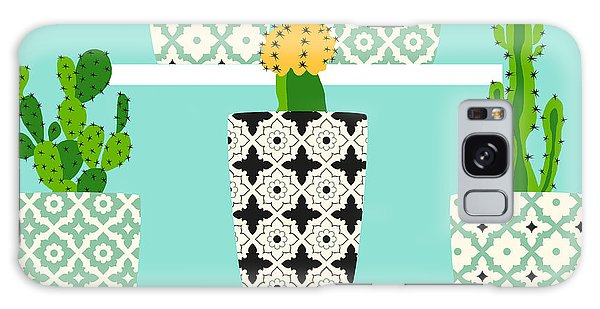 Shelves Galaxy Case - Vector Pattern With Cacti. Cute Cactus by Lilalove