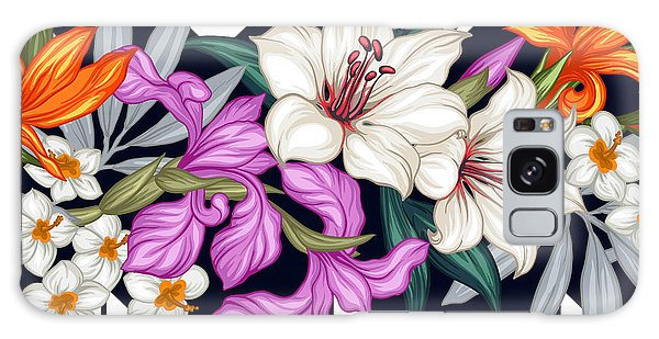 Botanical Garden Galaxy Case - Vector Tropical Leaves And Flowers by Juliyam