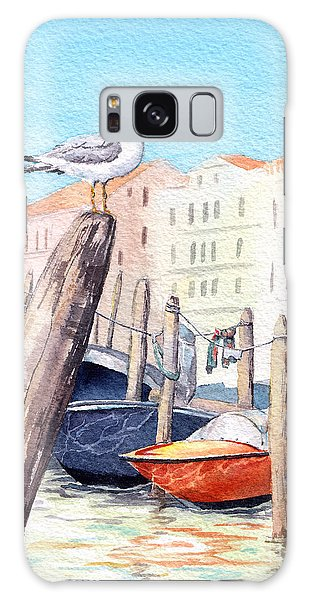Seagulls Galaxy Case - Venice - Boats, Water, Buildings And by Le Panda